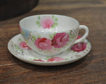 Tea Cup & Saucer - Unmarked - Bone China - Gold Leaf Pink Flowers and Blue