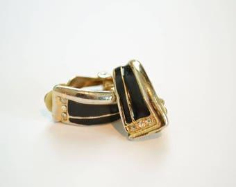 Retro Black Earrings / Clip On Earrings / Vintage Black Earrings / Gifts for Girls / Gift for Her / Vintage Bride / 1980s Earrings / Mother