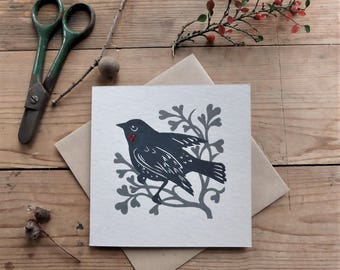 Love Bird greetings card from original linocut with grey leaves and hearts