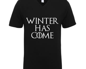 Game Of Thrones Winter Has Come Trend Clothing Adult Unisex T-Shirts Men Size V Neck Tee Shirts for Men and Women