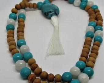 Turquoise, moonstone, sandalwood Mala