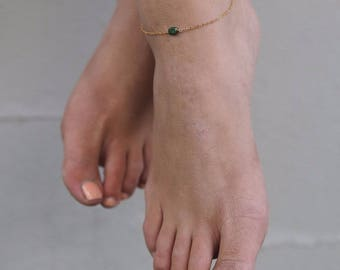 Green Jade Gold Anklet