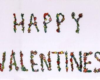 Happy Valentines Flower Card