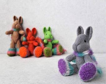 Miniature sculpture bunny. Original handmade soft sculpture bunny . Felt toy bunny . As a gift. Realistic bunny .Miniature green felt bunny
