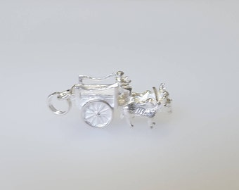 Ox Cart Charm Pendant in .925 Sterling Silver