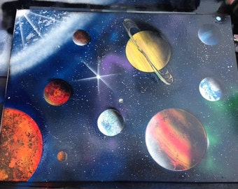 Solar System Spray Paint Canvas Art