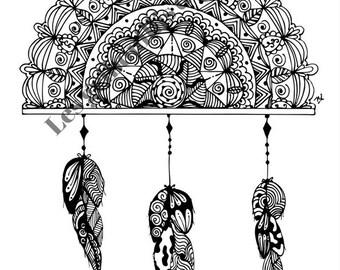 Mandala Capteur de rêves à colorier et à imprimer vous-même - mandala - zentangle - fait main - anti-stress  - plumes - détente