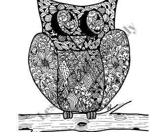 Mandala Hiboux à colorier et à imprimer vous-même - mandala - zentangle - anti-stress - hiboux - coloriage - détente - fait main