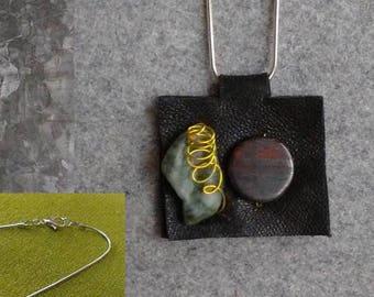 Leather + Stone Pendant Necklacec