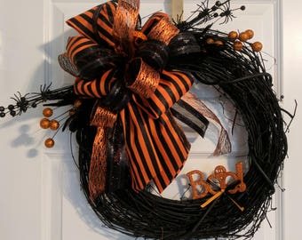 Halloween Wreath Ribbon Front Door