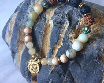 Lava, Rudraksha, Amazonite & Rosewood Single Wrap Diffuser Bracelet with Brass Coin