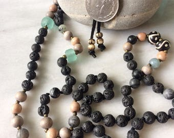 Black Lava, Rosewood, Agate & Bali Glass Hand Knotted Mala Diffuser Necklace with Turkish Coin