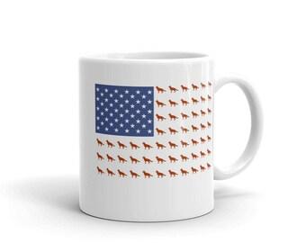 German Shepherd Mug USA flag US funny shepherd gift mug creative dog coffee mug tea mug gift for her, gift for him, Alsatian mug