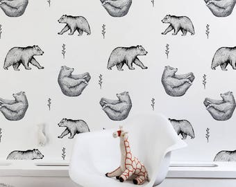 Yoga bears removable wallpaper - grizlee animal wall mural | Repositionable black and white wallpaper | self adhesive wallpaper #6