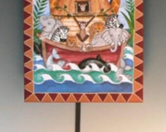 Whimiscal  Noahs Ark hand made childrens  pendulum  clock  with rainbow