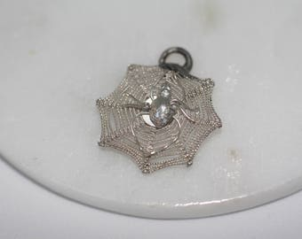 Sterling Silver Charm - Spiders Web, Gothic, Halloween, collectable, vintage charms, pendant, charm bracelet.