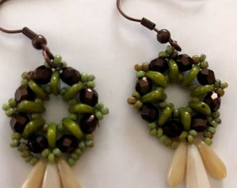 Green beads with Brown Beads