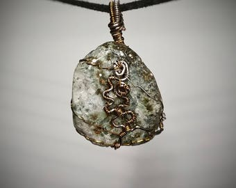 Ocean Jasper Pendant - Wire Wrapped Jewelry - Clear Crystal and Green Body with White and Orange Specks - Unique Handmade Necklace