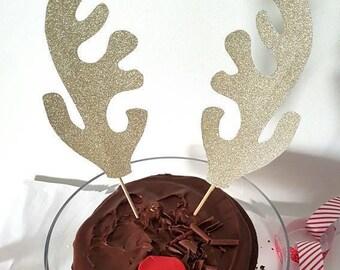Reindeer cake topper rudolph Christmas cake decoration