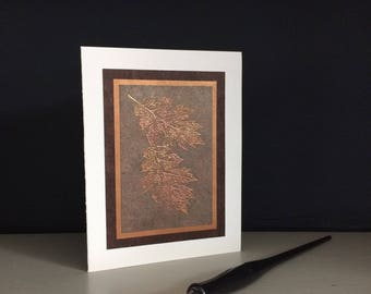 Samhain card: embossed copper oak leaves on umber, happy Samhain, Halloween, individually handmade