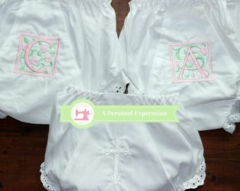 Monogrammed Bloomers / Personalized Diaper Cover / Cross Bloomer /  Baby Girl Bloomer / Newborn Bloomer / Personalized Baby Bloomer / Eyelet