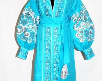 Abaya Dresses Kaftan Dress Boho Ukrainian Embroidery Bohemian Clothes Vyshyvanka Dress Maxi Linen Vishivanka Embroidered Dresses Bohochic