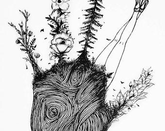 "9.5 x 11in print - ""Carbon Handprint"""