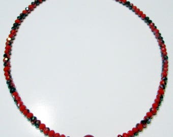 Necklace in red glass beads