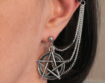 Pentacle Ear Cuff, Silver Plated Chains and Stud Earring