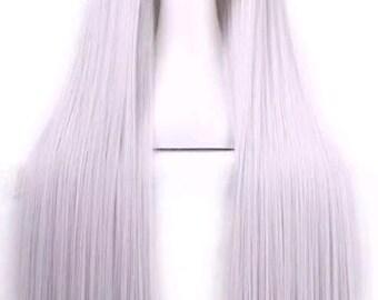 Customizable -  Gray  -  long Wavy Curly layered Wig w/ bangs - scene emo cosplay anime punk lolita mermaid hair styles Wig -