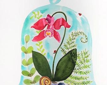 Orchid Bell Jar watercolor, Watercolor Floral, Flower wall art, Floral wall art, Floral watercolor print, Flower watercolor, Flower art