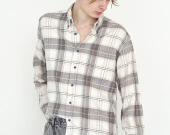 VINTAGE White Checked Long Sleeve Button Downs Retro Shirt