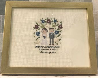 Custom CrossStitch People - Wedding Theme - (PURCHASE INCLUDES A FRAME)