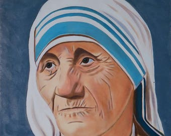 Mother Teresa - Print of Oil on Canvas