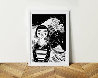 Girl Portrait Kanagawa. A4.