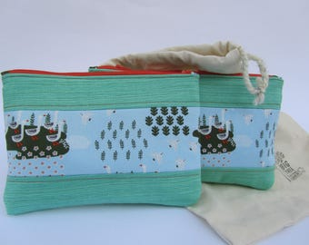 Quilted Zipper Pouch Set Duck Goose