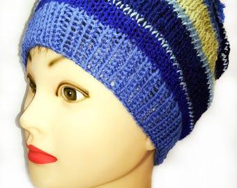 Knit hat, pom pom hat, winter hat, expressive blue, wool hat