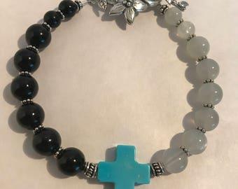 Moonstone Onyx Cross Bracelet