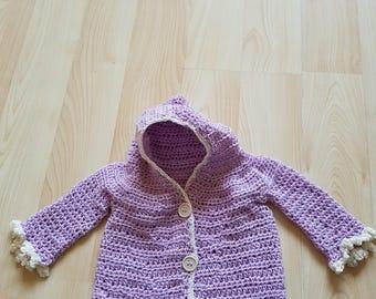 9-12 months lilac cardigan/coat