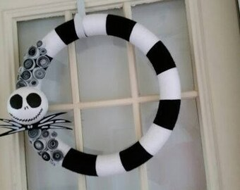Jack Skellinton Yarn Wreath