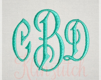 Carson Monogram Embroidery Fonts 5 Sizes Three Letters Monogram Fonts BX Fonts Embroidery Designs PES Alphabets - Instant Download