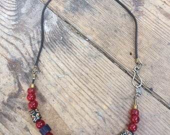 Red and Black African trade bead necklace