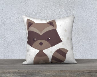 Decorative pillow cover, pillow for children, decoration, illustration, Brown raccoon, pillows, Decorative cushion cover, cushion for child