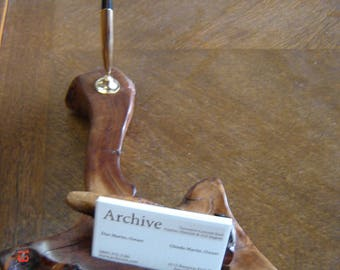 Live Edge wooden Pen & Business Card Holder American Elm Root, Misquite card rest, Brass pen Funnel, Bone pen.