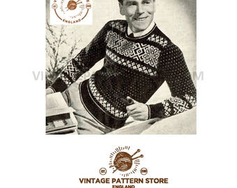 "Mans 1930s vintage round neck, fair isle, raglan sleeve sweater 38"" chest - Vintage PDF Knitting Pattern 638"