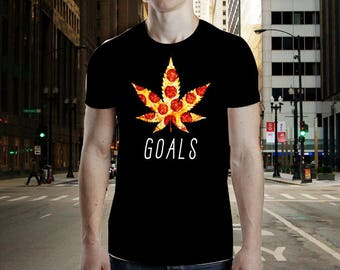 Unisex Weed & Pizza: Goals  Cannabis T-Shirt   Funny Weed Shirt   Funny 420 Shirt   Funny Pizza Shirt   Marijuana Shirt   Gift For Stoners  
