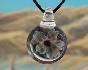 Rainbow flower glass pendant necklace