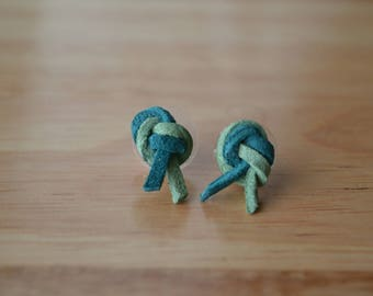 Leather knot earrings, green leather earrings, two tone knot earrings