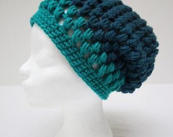 Petroleum Blue Handmade, crochet beanie with stud pattern