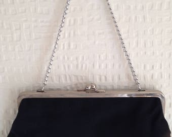80's Black fabric snap-fastening purse with silver chain